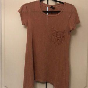 Bobeau small s short sleeve crochet pocket t shirt